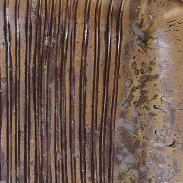 View of detail of the Large Square Stoneware Platter Coffee Furrows 7 - 39.5cm Wide x 4.5cm High