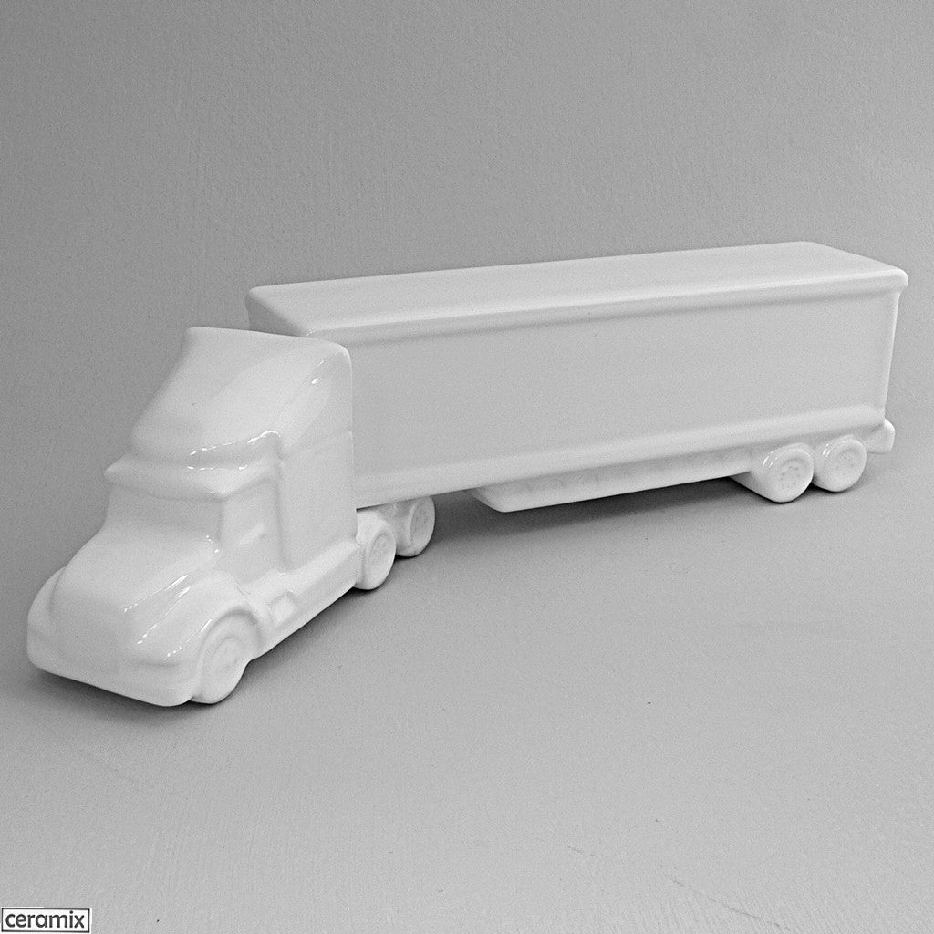 Truck with Box Trailer in White Clay glazed White by Ceramix