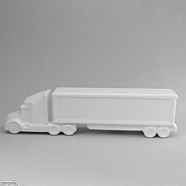 White glazed Truck with Box Trailer by Ceramix