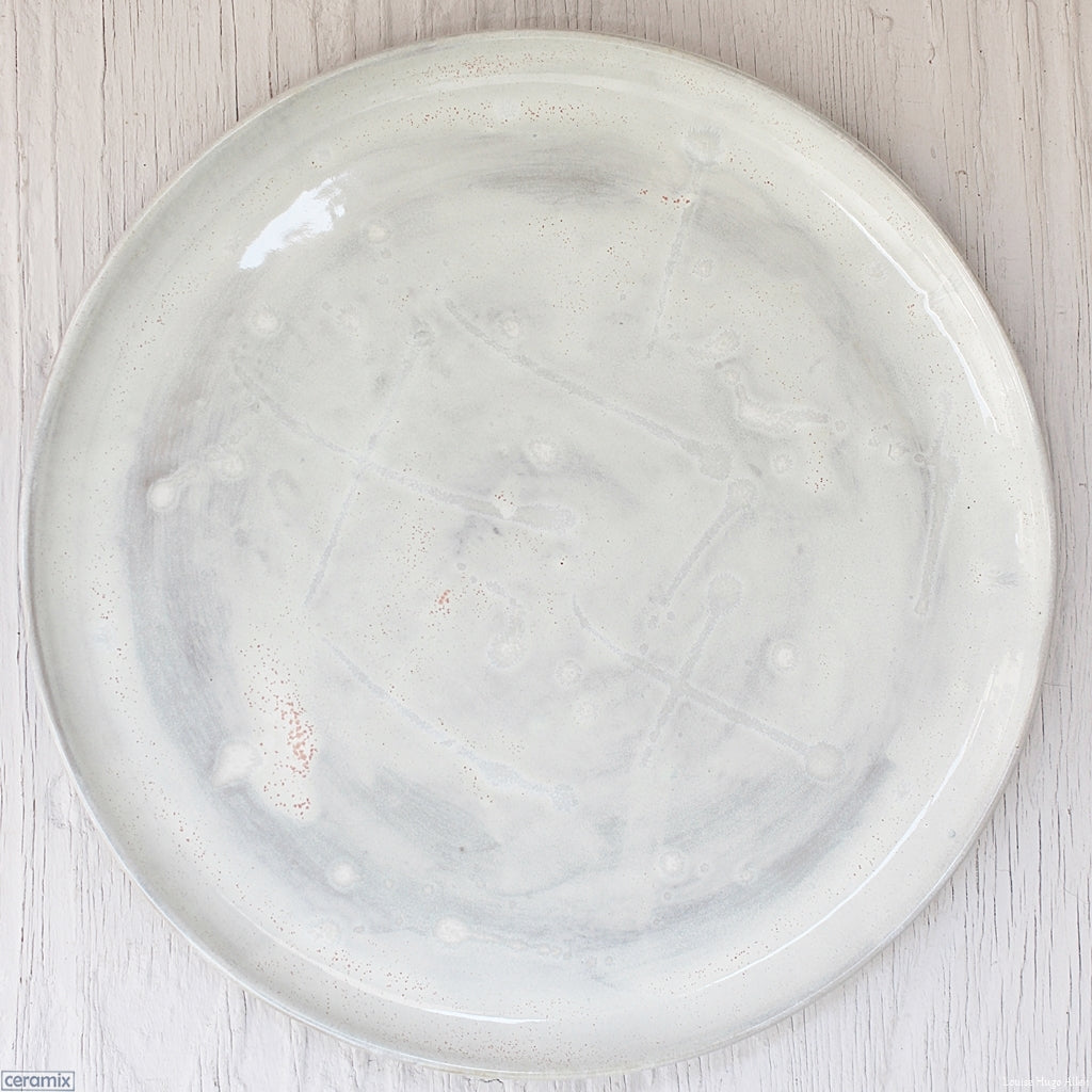 Dapple Grey Medium Round Stoneware Platter handmade at the Ceramix pottery in South Africa from African clay- 35cm Wide x 2.5cm High