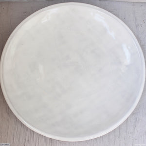 Dapple White Large Round Stoneware Platter handcrafted at the Ceramix pottery from African clay. 43cm Wide x 5.5cm High