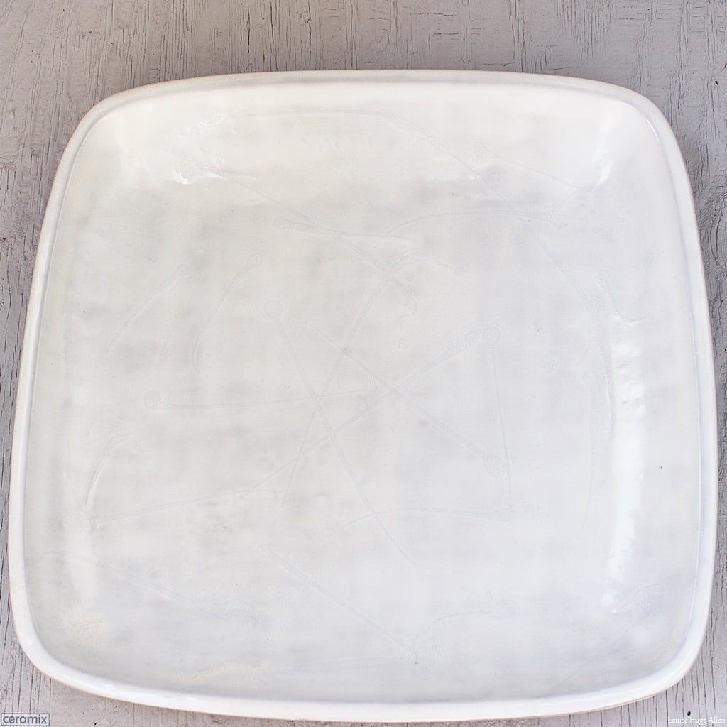 Large Square Stoneware Platter Dapple White - 39.5cm Wide x 4.5cm High. Handmade at the Ceramix Pottery in South Africa from African clay