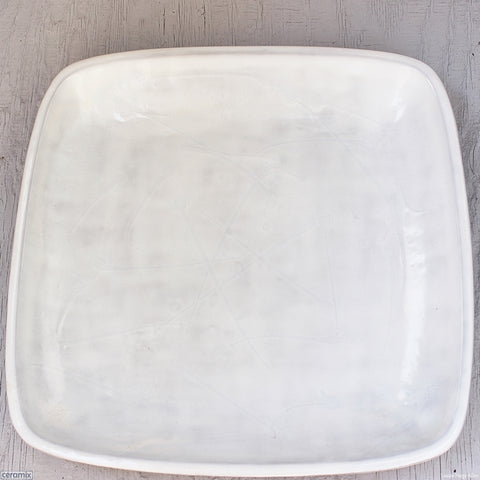 Dapple White Large Square Stoneware Platter