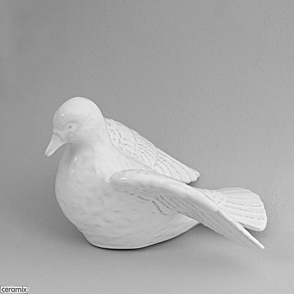 Dove of Peace Looking Forward in Terracotta Clay and glazed White by Ceramix