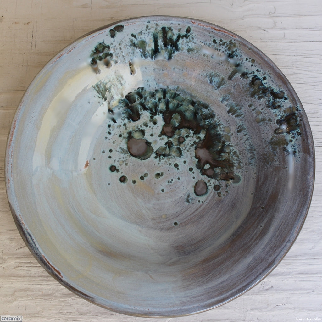 Eerie Pool Medium Round Stoneware Bowl 2 handmade by Margaret Melville at the Ceramix pottery in South Africa from African clay. - 30cm Wide x 5.5cm High