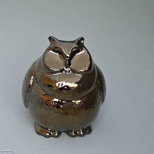 Hoot Ceramic Owl in Crackle Bronze by Ceramix