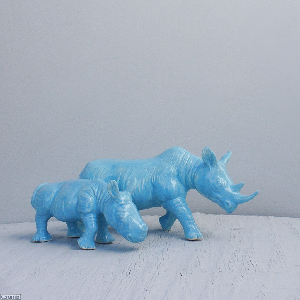 Ceramic Black Rhino and Calf