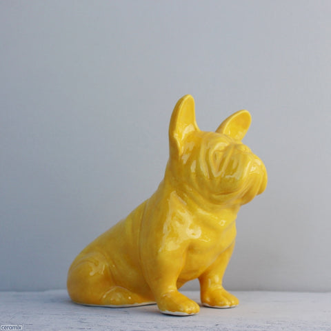 Mustard Ceramic French Bulldog handmade in South Africa from African clay.