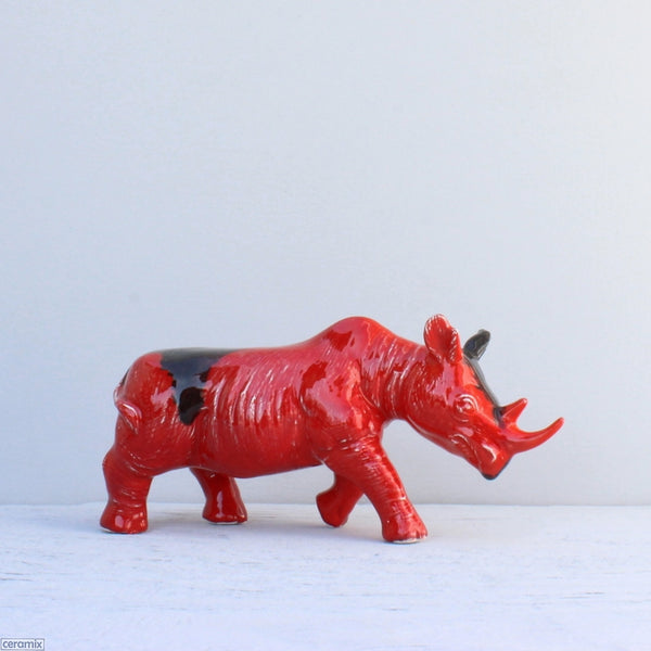 Black Rhino glazed Red with Black Ink Blot decor item. Handmade from African clay at the Ceramix pottery in South Africa.