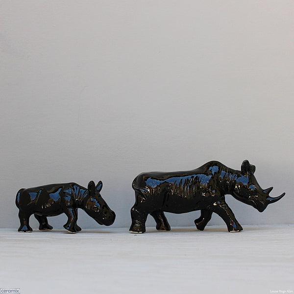 Ceramic Rhino and Calf glazed Gloss Black by Ceramix