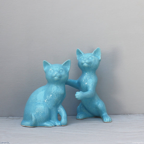 Glazed Ceramic Loving Cats Molly and Jasper by Ceramix