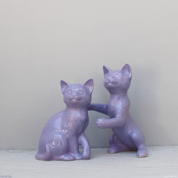 Glazed Ceramic Molly and Jasper Ceramic Cats