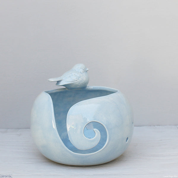 Ceramic Pippi Langkous Blue Bird Large Round Yarn Bowl handmade at Ceramix by Margaret Melville Hugo