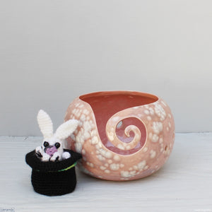 Ceramic Rabbit in the Hat Peach Large Round Yarn Bowl handmade at the Ceramix pottery in South Africa by Margaret Melville Hugo