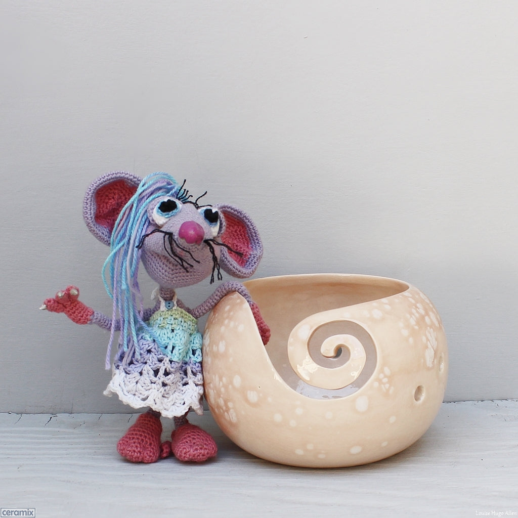 Ceramic Lucy Mouse Peach Large Round Yarn Bowl handmade in South Africa by Margaret Melville Hugo at Ceramix