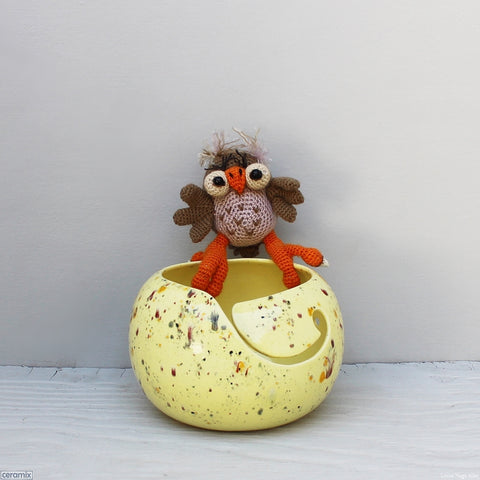Ceramic Wizzy Owl Yellow Large Round Yarn Bowl handmade at the Ceramix Pottery in South Africa by Margaret Melville Hugo