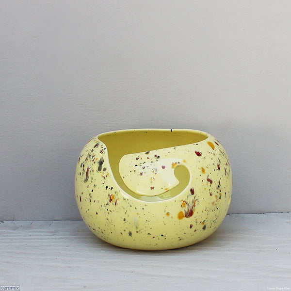 Handmade Ceramic Wizzy Owl Yellow Large Round Yarn Bowl handmade at the Ceramix Pottery in South Africa by Margaret Melville Hugo