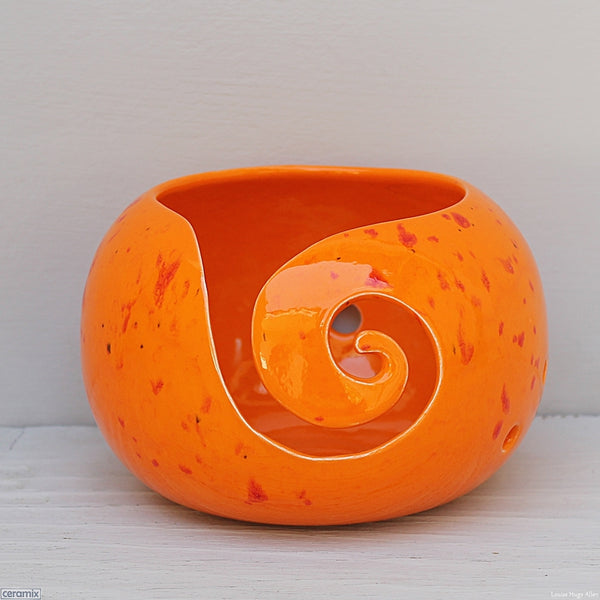 Handmade Ceramic Sammy Snake Orange Small Round Yarn Bowl handmade at the Ceramix Pottery in South Africa by Margaret Melville Hugo