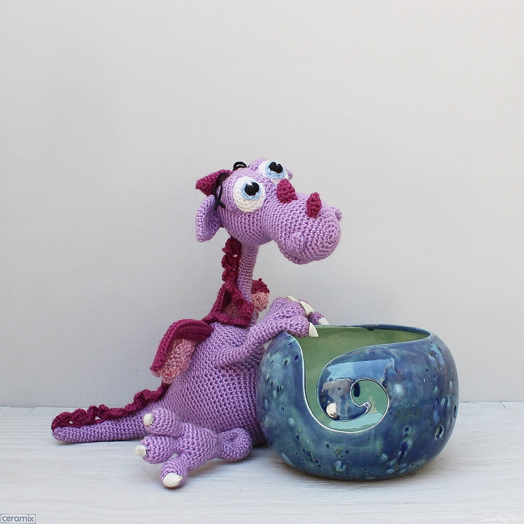 Handmade Morris the Fearsome Dragon Blue Large Round Ceramic Yarn Bowl.