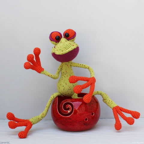 Ceramic Fred Frog Red Large Round Yarn Bowl handmade by Margaret Melville Hugo in South Africa at Ceramix