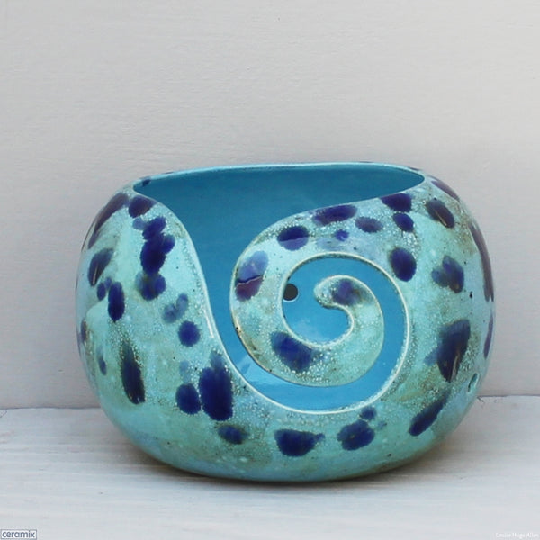Handmade Ceramic Priscilla Queen of the Coral Turquoise Large Round Yarn Bowl handmade at the Ceramix Pottery in South Africa by Margaret Melville Hugo