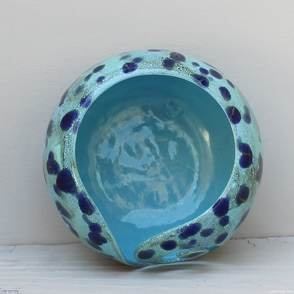 Inside the Ceramic Priscilla Queen of the Coral Turquoise Large Round Yarn Bowl handmade at the Ceramix Pottery in South Africa by Margaret Melville Hugo