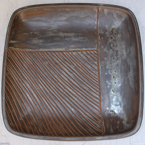 Large Square Stoneware Platter Indents of Time 12 Handmade by Margaret Melville - 39.5cm Wide x 4.5cm High
