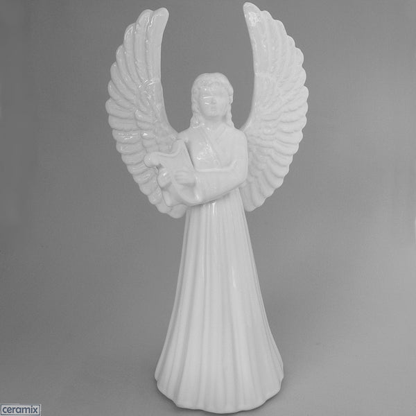 White Ceramic Angel with Harp by Ceramix