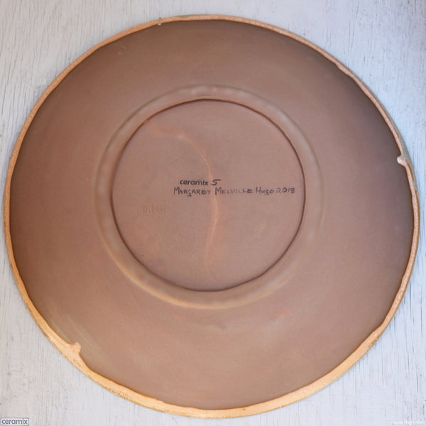 Back view of the Large Round Stoneware Platter Minty Peach Surprise 5 - 43cm Wide x 5.5cm High
