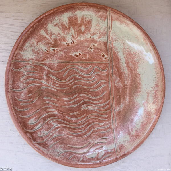 Minty Peach Surprise Round Stoneware Platter Number 5 handmade by Margaret Melville at the Ceramix pottery in South Africa from African clay - 43cm Wide x 5.5cm High