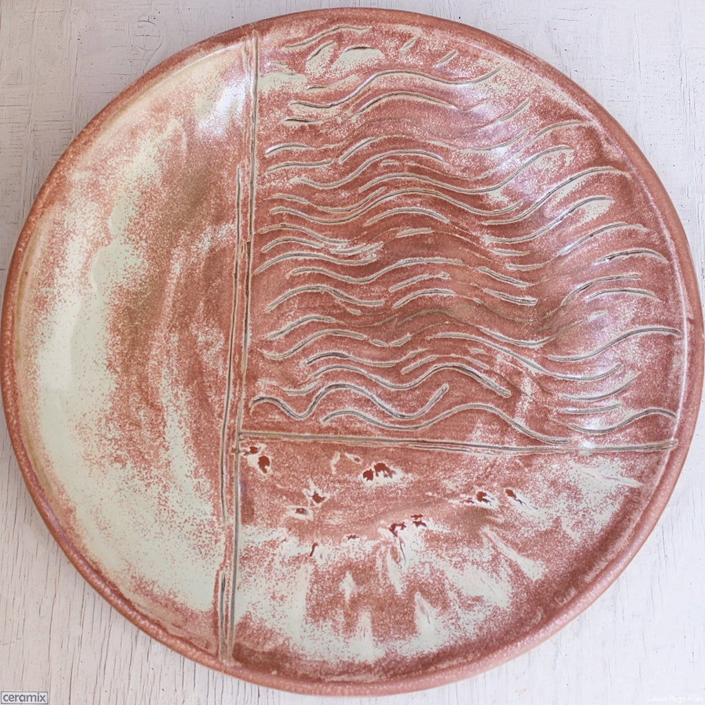 Minty Peach Surprise Large Round Stoneware Platter 5 handmade by Margaret Melville at the Ceramix pottery in South Africa from African clay - 43cm Wide x 5.5cm High