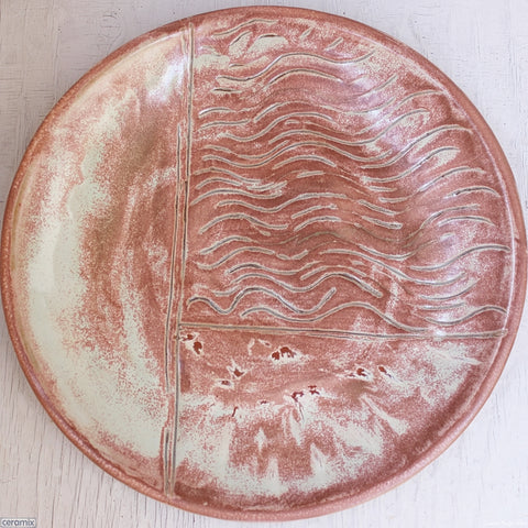 Minty Peach Surprise Large Round Stoneware Platter #5
