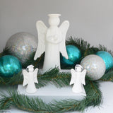 Large Modern Angel White Clay Glazed White used in a Turquoise & Silver Theme by Ceramix