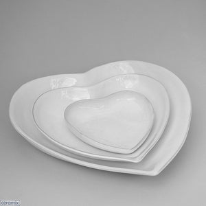 Small, Medium and Large White Nesting Heart Bowls by Ceramix