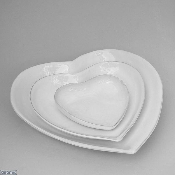 3 Heart Nesting Bowls in Terracotta Clay glazed White by Ceramix