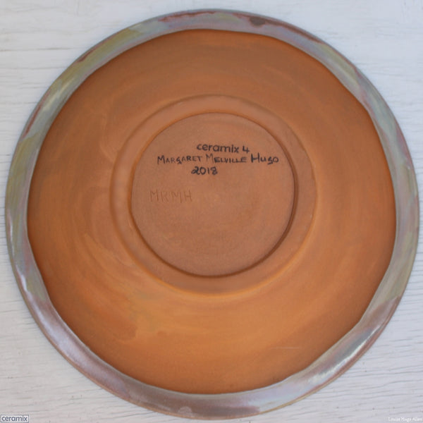 Back of the Odyssey Large Round Stoneware Bowl 4 - Handmade by Margaret Melville Hugo at the Ceramix Pottery in South Africa from African clay. 30cm Wide x 5.5cm High
