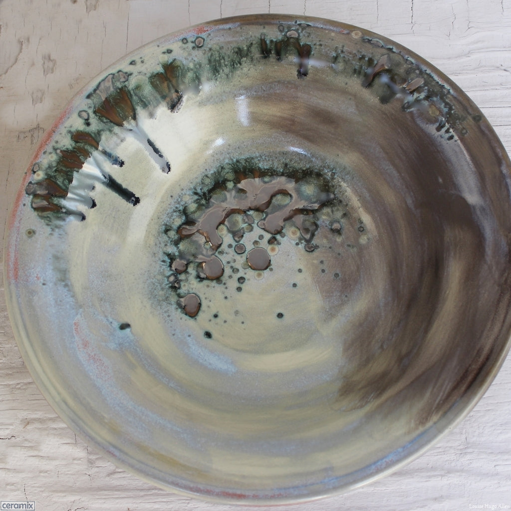 Odyssey Large Round Stoneware Bowl 4 - Handmade by Margaret Melville Hugo at the Ceramix Pottery in South Africa from African clay. 30cm Wide x 5.5cm High