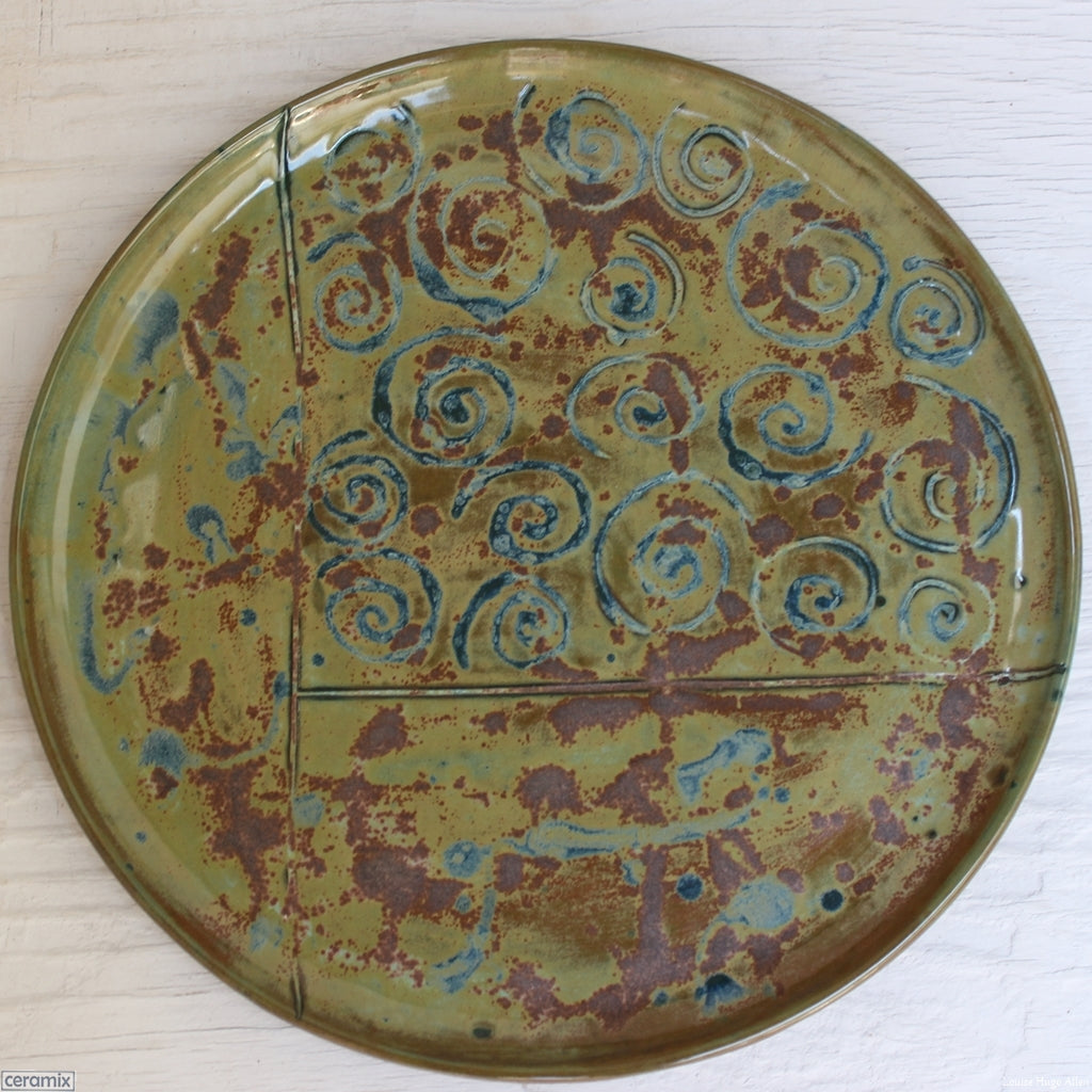 Medium Round Stoneware Platter Olive Batik 6 handcrafted by Margaret Melville at the Ceramix Pottery in South Africa from African Terracotta clay and fired to stoneware - 35cm Wide x 2.5cm High
