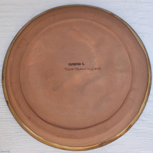 Medium Back of the Round Stoneware Platter Olive Batik 6 - 35cm Wide x 2.5cm High