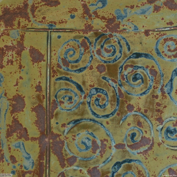 Detail of the Medium Round Stoneware Platter Olive Batik 6 - 35cm Wide x 2.5cm High