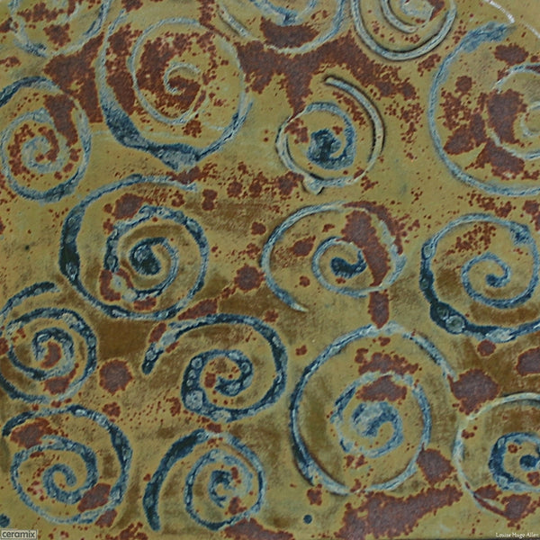 Close up view of the Medium Round Stoneware Platter Olive Batik 6 - 35cm Wide x 2.5cm High