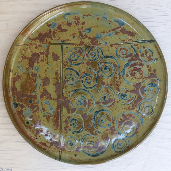Olive Batik Medium round Stoneware platter Number 6 handcrafted by Margaret Melville at the Ceramix Pottery in South Africa from African Terracotta clay and fired to stoneware - 35cm Wide x 2.5cm High