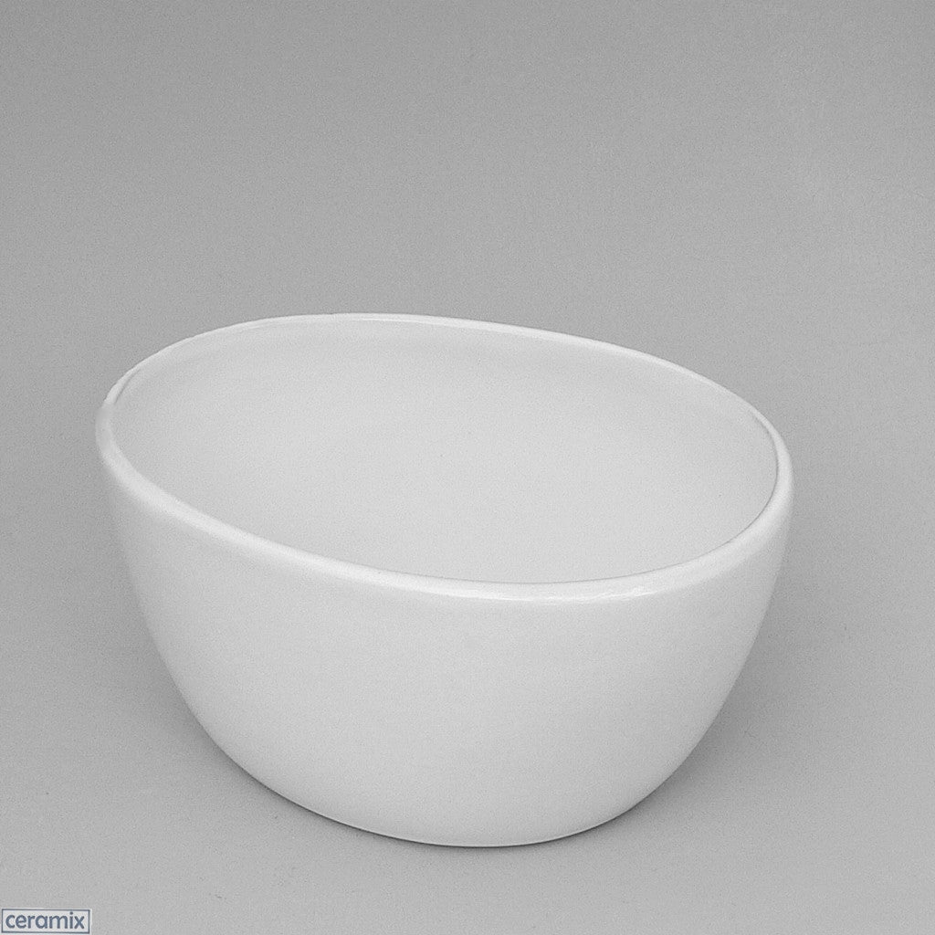 Designer Oval Bowl #4 made from Terracotta Clay and glazed white by Ceramix