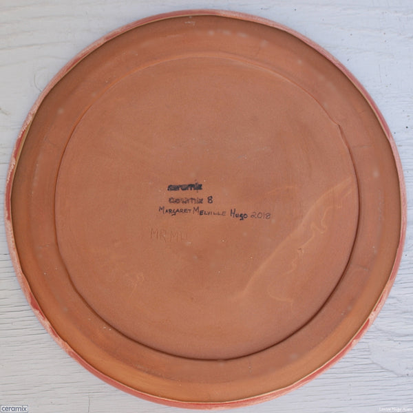Back Medium Round Stoneware Platter Peach Melba 8 - 35cm Wide