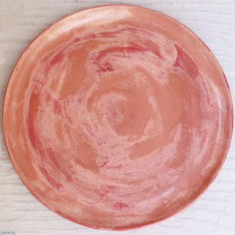 Peach Melba Medium Round Stoneware Platter 8 handmade at the Ceramix pottery by Margaret Melville from African clay - 35cm Wide x 2.5cm High