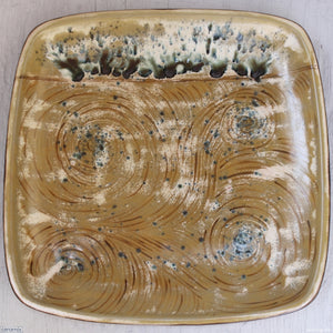 Large Square Stoneware Platter Peacock Musings 4 Handmade at the Ceramix pottery in South Africa by Margaret Melville - 39.5cm Wide x 4.5cm High