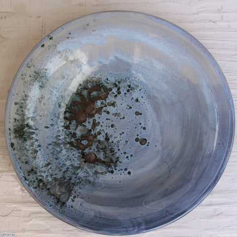 Reflections Medium Round Stoneware Bowl 3. Handmade by Margaret Melville at the Ceramix pottery in South Africa from African clay - 30cm Wide x 5.5cm High