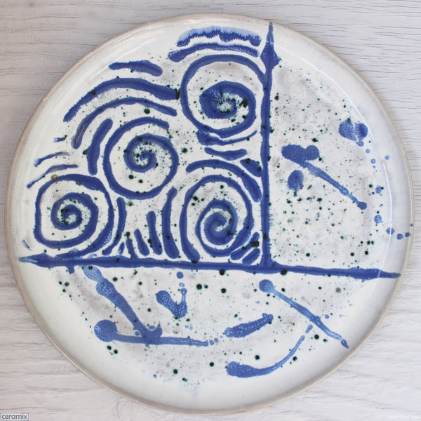 Retro in Blue numbered 3 Medium Round Stoneware Platter handcrafted by Margaret Melville at the Ceramix Pottery in South Africa from African clay - 35cm Wide x 2.5cm High