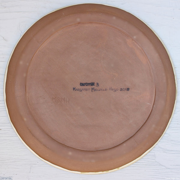 Back of the Medium Round Stoneware Platter Retro in Blue 3 - 35cm Wide x 2.5cm High