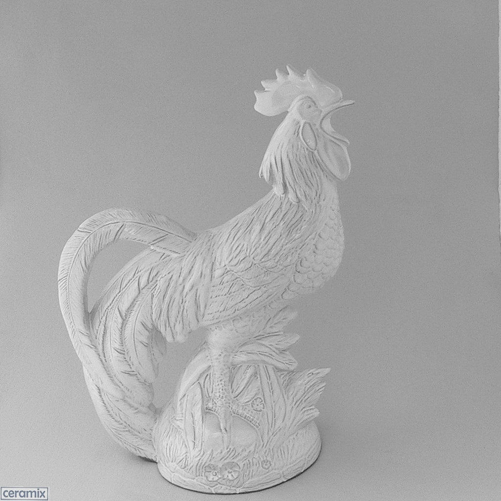 Large Rooster White glazed Terracotta Ceramic ornament. Handmade at the Ceramix Pottery in South Africa from African clay.